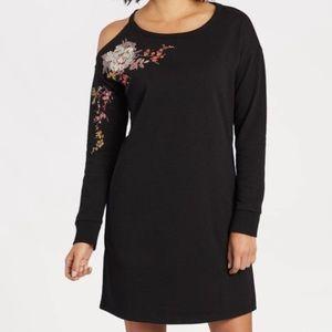 Socialite Embroidered Cold Shoulder Sweater Dress